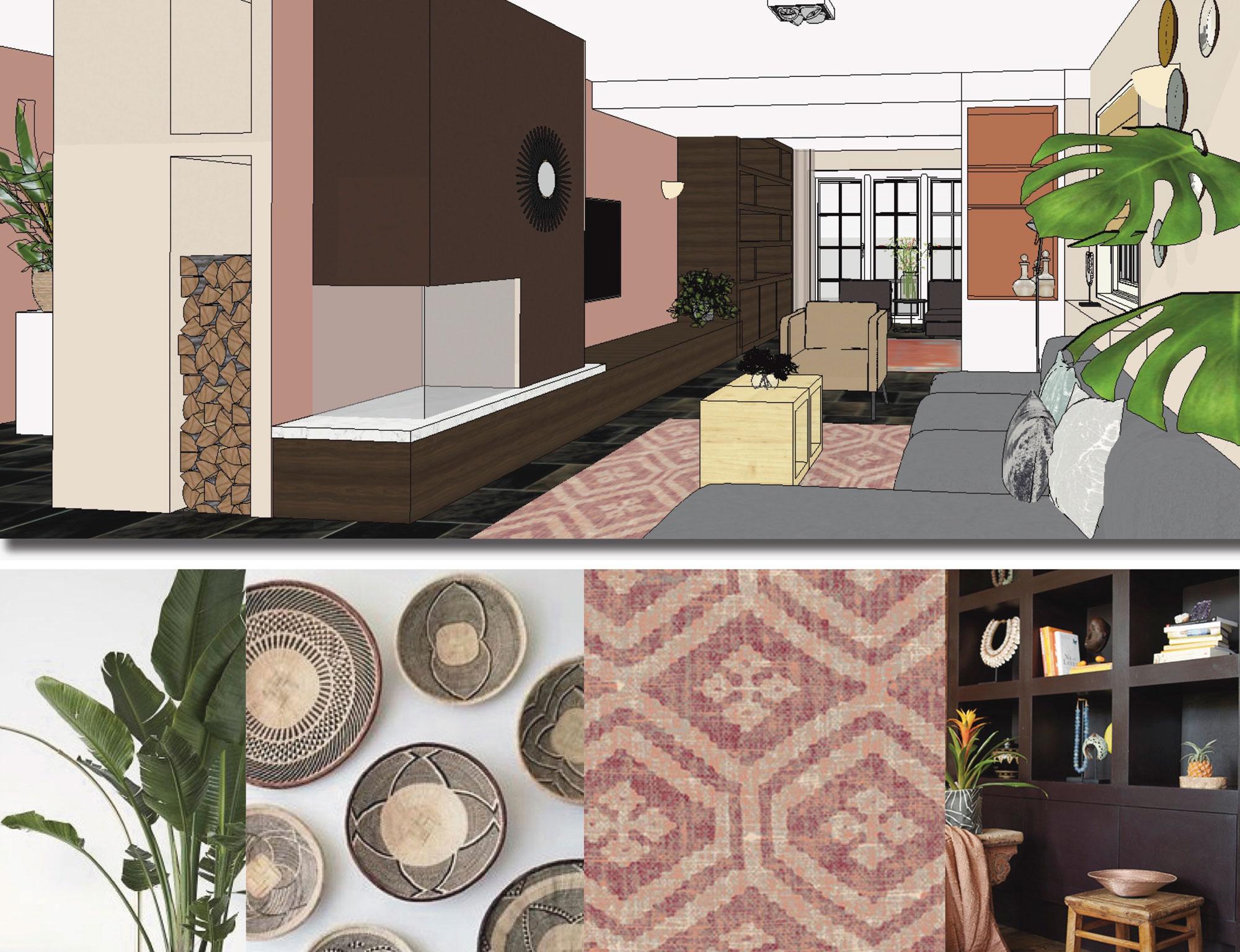 interieurplan DIY woonkamer living zithoek haard wandmeubel televisie etnisch landelijk