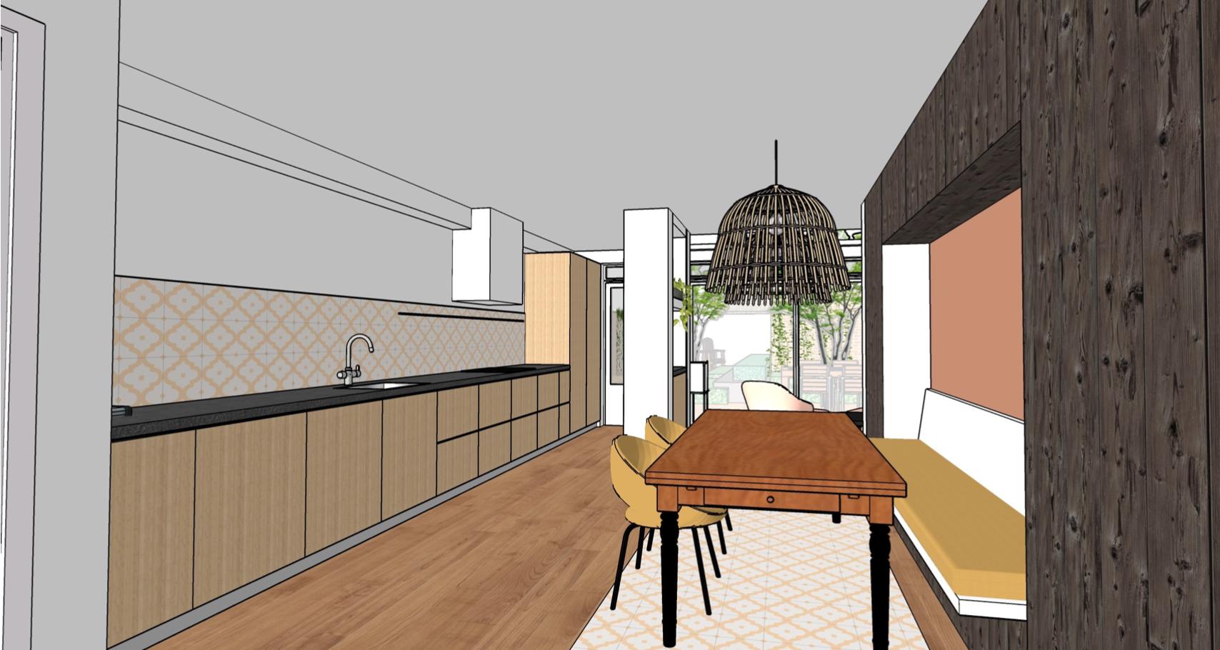 visualisatie eethoek keuken maatwerkkast van bossestraat