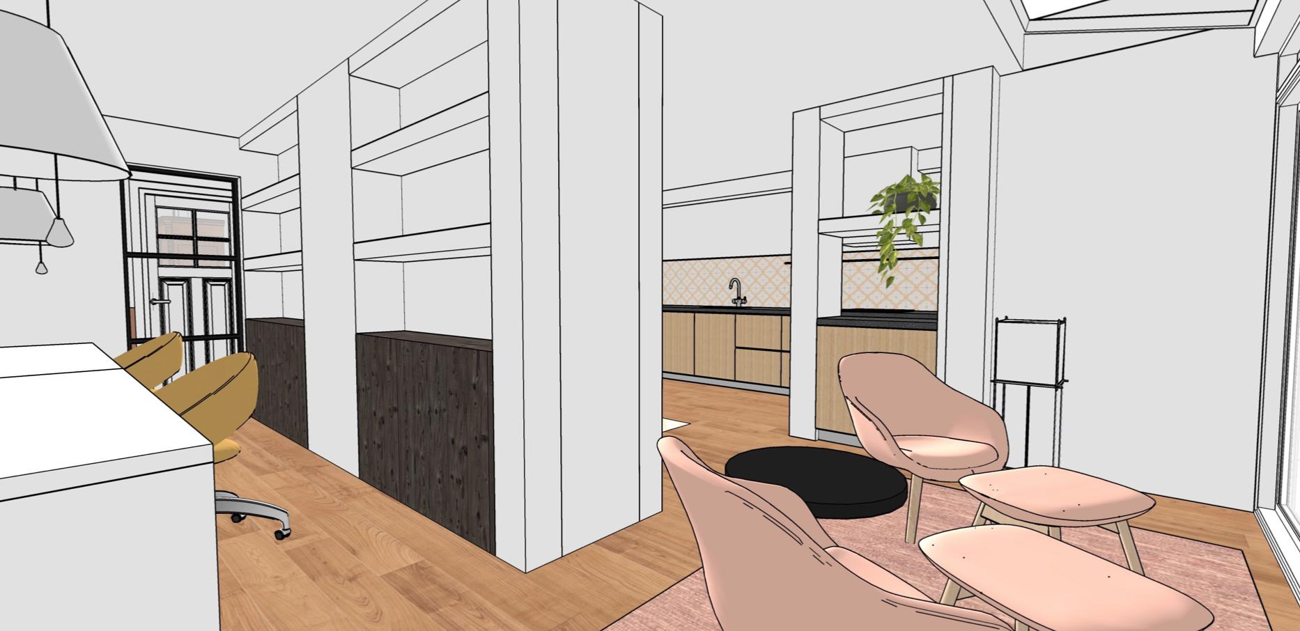 visualisatie serre keuken studeerkamer maatwerkkast van bossestraat
