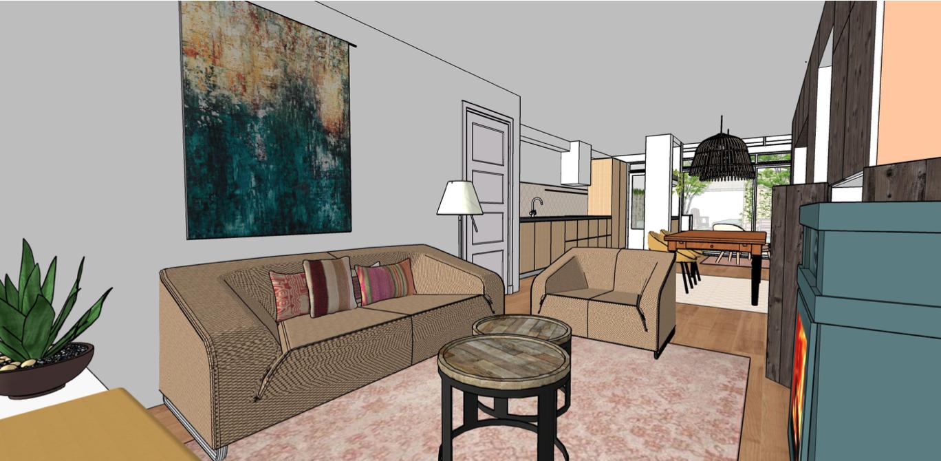 visualisatie woonkamer keuken eethoek van bossestraat